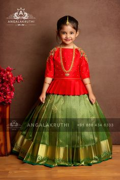 Kids pattu pavada designs by angalakruthi Bangalore india Girls Frock Design, Kids Frocks Design, Baby Frocks Designs, Baby Dress Design, Kids Lehanga Design, Lehanga For Kids, Lehenga Designs, Half Saree Designs, Pattu Saree Blouse Designs