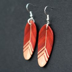 Handcarved Redheart and Maple Wood Feather Earrings