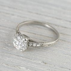 Antique engagement ring with center diamond and sapphire accents and Fashion, Deco, Old, Engagement Rings Deco Engagement Ring, Wedding Engagement, Wedding Rings, Vintage Rings, Vintage Art, Vintage Jewelry, Jewelry Box, Jewelry Accessories, Jewlery