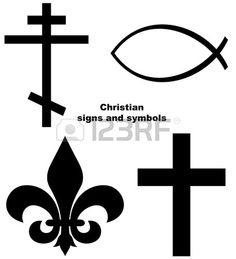Conjunto de signos o s mbolos cristianos aislados sobre un fondo blanco Foto de archivo