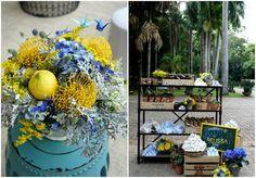 Decoração em azul e amarelo de Camila K. Flores e Festas - Blog Dani Vargas   Realize-se - O site do seu casamento