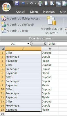 Excel 2007 : séparer le nom et le prénom dans deux cellules distinctes