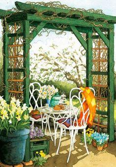 Risultati immagini per inge look Illustrations, Illustration Art, Grandmas Garden, Nordic Art, Country Scenes, Helsinki, Garden Art, Garden Painting, Scandinavian