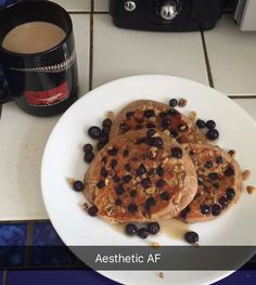 Blueberry and walnut protein pancakes on deck this Saturday with some sugar free syrup. And of course coffee.  #eatallthethings #proteinpancakes #gains #aestheticaf #coffee #breakfastgains by niklifts