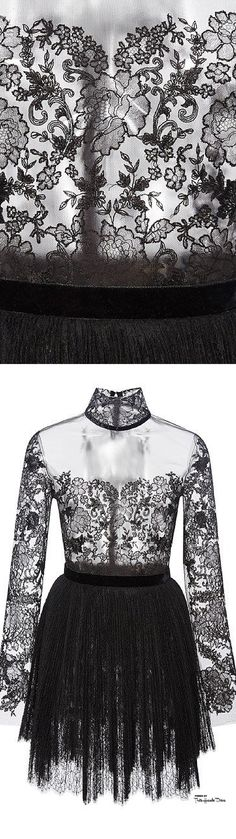 Reem Acra Fall 2015 RTW Black Long Sleeve Embroidered Lace Illusion Dress ♔THD♔
