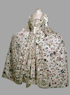 Overdress or robe à la française of Chinese floral-painted silk, with petticoat, English; Chinese, handpainted silk, edged with lace,  circa 1745-1750