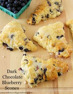 Dark Chocolate Blueberry Scones are full of anitoxidants and a delightful brunch! by www.whatscookingwithruthie.com #recipes #breakfast #skinny