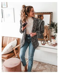Tweed Blazer Outfit, Blazer Outfits Casual, Blazer Outfits For Women, Look Blazer, Business Casual Outfits, Professional Outfits, Fall Outfits, Hippie Outfits, Fashion Outfits