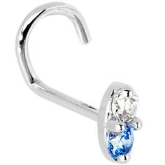JewelStop 14K Solid White Gold Nose Ring Bone CZ Prong Ring 2mm 20 Gauge