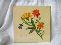 Vintage Picture Colorful Flowers Hand by VintagePlusCrafts on Etsy, $5.00