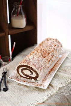 gingerbread roll cake filled with spiced cream from @RoxanaGreenGirl | Roxana's Home Baking
