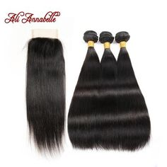 Brazilian Straight Natural Virgin Human Hair With 8A Frontal Closure. (3 pc Bundel)