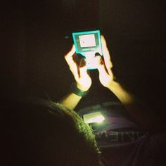 stardust686 It's midnight...we turn off the lights and Judd flips on his phone light so he can play Pokemon on his gameboy color... #sitwtour #nerd #dedication #gameboy #pokemon
