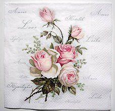 Papier - Servítka V7- Love Rose 40x40 cm !!! - 7339089_