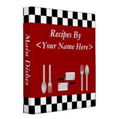 Shop Large Checkerboard Personalized Recipe Binder created by cyclegirl. M&m Recipe, Gluten Free Menu, Budget Meal Planning, Recipe Binders, Binder Inserts, Christmas Gifts For Boyfriend, Money Saving Meals, Binder Design, Recipe Organization