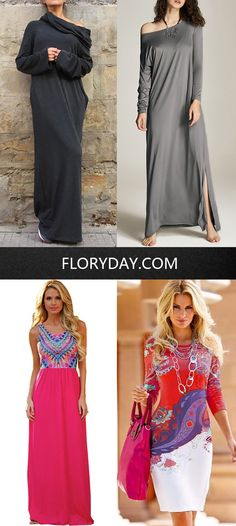 Long sleeve, floor-length, this kind of casual dresses are the most favor ones of mine! Comfortable, soft and lightweight, I just cannot love them enough! The second favor dresses are those which are designed with floral patterns, so lovely and stylish!