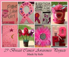 39 Breast Cancer Awareness Projects, PINKtober projects made by kids, Breast Cancer crafts from www.sister-dipity.blogspot.com