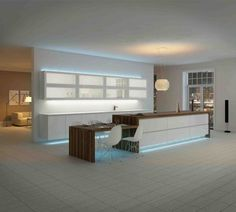 like the idea of lighting up the kitchen area with strip lighting - Kitchen Led Lighting Ideas