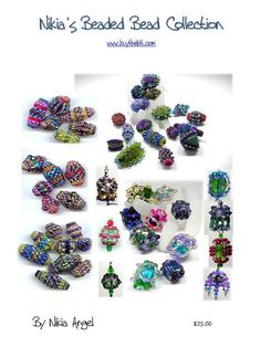 """""""Nikia's Beaded Beaded Beads Tutorials on CD and free Miniature Ornament Tutorial"""" available for $ 25.00 US from """"Nikia"""" Angel at Etsy. Includes instructions for 6 beaded beads."""