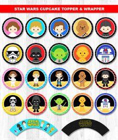 Star Wars Cupcake Toppers envolturas de la Magdalena por KidzParty