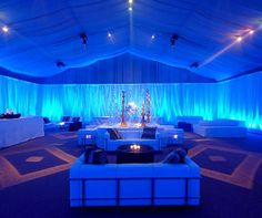 Got a flair for the dramatic? Levy Lighting will mix bold colors with graphic projections to create a striking effect.