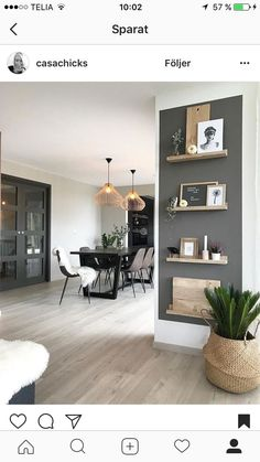 35 Essential Shelf Decor Ideas (A Guide to Style Your Home) bedroom livingroom kitchen decor bracket wall modern floating diy white ideas. Home Living Room, Living Room Decor, Living Spaces, Living Room Accent Wall, Dining Wall Decor Ideas, Dark Grey Walls Living Room, Dining Room Feature Wall, Dark Walls, Room Inspiration