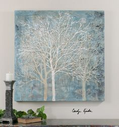"""Hand painted artwork on canvas is stretched and attached to wooden stretching bars. Due to the handcrafted nature of this artwork, each piece may have subtle differences. - 40 W x 40 H x 2"""" D - Canvas"""