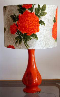 retro vintage barkcloth lamp