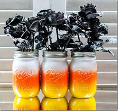 DIY: How to make candy corn sprayed mason jars.