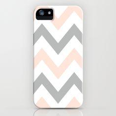 PEACH & GRAY CHEVRON iPhone Case