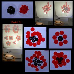 """Poppies inspired play activities for the Early Years classroom or to do with young children - useful links for Remembrance Sunday. from Rachel ("""",) Sensory Lights, Early Years Classroom, Funky Fingers, Armistice Day, Remembrance Sunday, Light Panel, Anzac Day, Shadow Play, Sensory Bins"""
