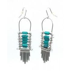 Boucles d'oreilles en métal et turquoise NAKACH
