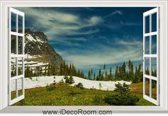 3D Glacier National Park Montana Rocky Mountains Snow window wall sticker art decal IDCCH-LS-000712