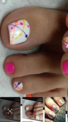 Cute Nail Colors, Toe Nail Color, Toe Nail Art, Toenail Art Designs, Nail Art Designs Videos, Toe Designs, Pretty Toe Nails, Cute Toe Nails, Feet Nail Design