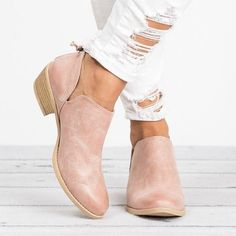 Load image into Gallery viewer, Women Pu Boots Casual Daily Chunky Heel Shoes Low Heel Ankle Boots, Chunky Heel Shoes, Chunky Boots, Low Heels, Heeled Boots, Shoes Heels, Ankle Booties, Pink Ankle Boots, Women's Flats