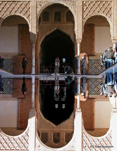 """Symmetry in the Alhambra palace, Granada, Andalucia-  """"Through this art, we may be transported into a finer dimension. A private doorway. A secret path. The grandest curtains briefly parting. Revelation. They were metaphor AND beyond – a perfect helix, as energy is released, realized, absorbed, then released, like the breath. Movement without movement. Transcendental. Harmony, rhythm, melody, tempo and timbre. A song of the universe."""""""