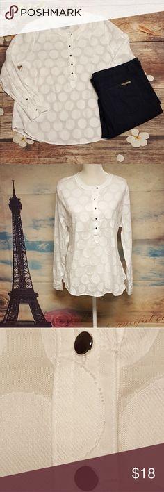 Liz Claiborne white dots blouse 100% cotton Long sleeves Size PXL Shoulders 17 Chest 47 Length 27 Sleeves 24  Bundle 2 or more items and save 10% 🤗 Liz Claiborne Tops Blouses