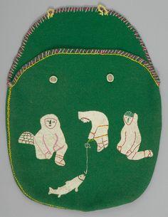 Inuit bag 1960-70. Wool felt, applique, embroidery; skin, bone.