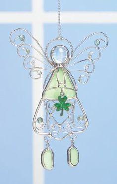 Amazon.com: Irish Angel Suncatcher Stained Glass Ornament with Shamrock: Patio, Lawn & Garden