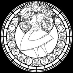 Alice Stained Glass -Redo- -line art- by Akili-Amethyst on DeviantArt
