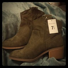 Olive/sawyer boots NWT, cute ankle boots with a 2inch heel. Never worn brand new!! Olive green is still green  Merona Shoes Ankle Boots & Booties