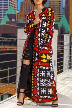 African Print Fashion, African Fashion Dresses, Red Fashion, Fashion Outfits, Womens Fashion, Fashion Coat, Fashion Trends, Maxi Coat, Shirt Designs