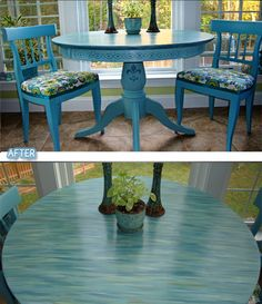 LOVE LOVE LOVE this table top redo! --->From Blog comments: For the dry brushing I used an art brush and 5 sample paints in eggshell. I made light streaks randomly with the art brush and used a dry paint brush to whisk them in. layers and patience. Let it dry some, come back later and see what you think. You can always add more. After satisfied with the result, let dry and then wax and buff. I used Annie Sloan chalk paint and her clear wax for the base coat and top coat. Hope that helps.