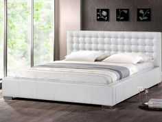 White Full Platform Bed With Headboard - Ordinary beds which are made from solid panels are called platform or platform bed Queen Size Platform Bed, Full Platform Bed, Leather Headboard, King Headboard, Comfy Bedroom, Bedroom Decor, Beautiful Bedroom Designs, Headboard Designs, Headboards For Beds