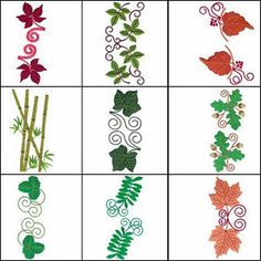 """""""Lavish Leaf Borders Large"""" all sorts of  leaf types are included from maple and oak, to ferns, bamboo and more! 9 leaf  types included. Stitch these versatile designs end to end or in formation."""
