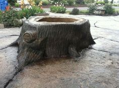"""""""Tree stump"""" fire pit made from concrete Hot Tub Backyard, Fire Pit Backyard, Backyard Seating, Patio, Fire Pit Swings, Fire Pit Gallery, Fire Pit Essentials, Artificial Rocks, Fire Pit Materials"""