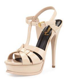 Yves Saint Laurent Tribute Patent Platform Sandal, Women's, Size: 35.5 EU (5.5B US), Poudre