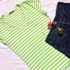 "Tahari Soft V-Neck Tee Ultra soft fabric 95% Rayon /5% Elastane looks as good as it feels. Bright green stripes are perfect for Spring and Summer. Excellent condition! 27"" shoulder to hem. Tahari Tops Tees - Short Sleeve"