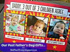 Father's Day Gifts - Personalized Photo Card, Daddy 3 out of 3 Children Agree... Click to see inside of card and read more - MePlus3Today.blogspot.com