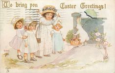 TO BRING YOU EASTER GREETINGS! rabbit carries Easter eggs & parasol, observed by children on path